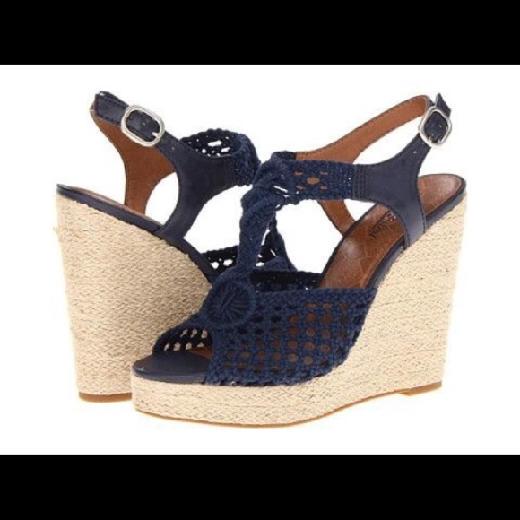 68ecbf5f99c Lucky Brand Shoes - Lucky brand Rilo crochet wedges blue in size 8.5
